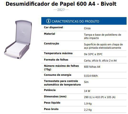 Imagem de Desumidificador de Papel Bivolt Plástico cinza 600 fls Menno