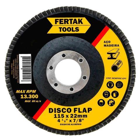 Imagem de Disco Lixa Flap 4.1/2 115mm G120 Aço Madeira Inox P/ Esmerilhadeira - Fertak