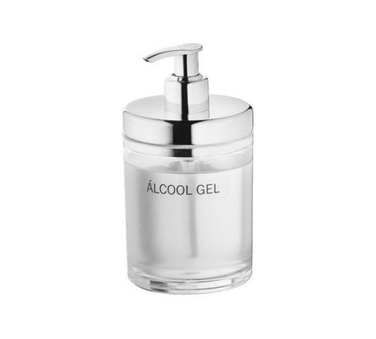 Imagem de Dispenser de Álcool Gel 300ml Acrílico/ Aço Quarentena Inox