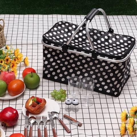 Imagem de Dobrável Piquenique Cesta Isolada Térmica Armazenamento Bolsa Saco Refrigerador Bolsa Alimento