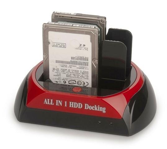 Imagem de DOCK STATION USB P/ 2 HDs CASE 2.5/3.5 SATA HDD COM LEITOR DE CARTÕES UNIVERSAL