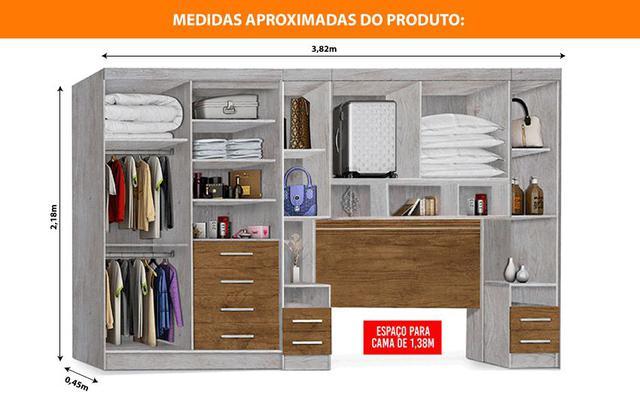 Imagem de Dormitório Georgia JA Avelã / Jequitibá Para Cama Box 1,38M Casal