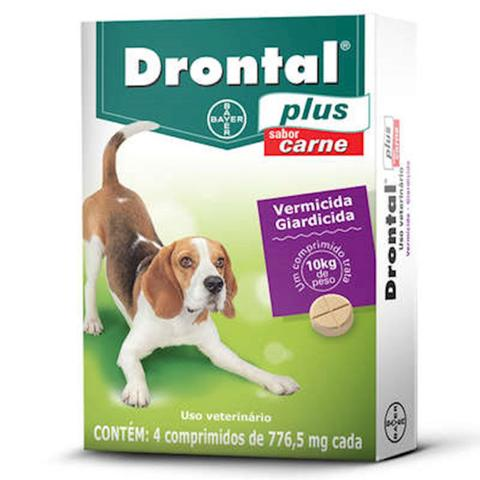 Imagem de Drontal Plus Carne Cães 10kg Vermifugo 4 comprimidos Bayer