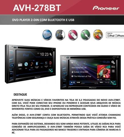 Imagem de Dvd Automotivo Pioneer Avh-208bt 2din Multimidia + Camera Ré