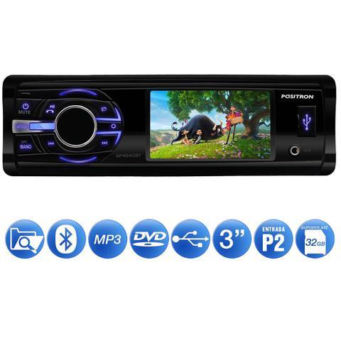Imagem de DVD Player Automotivo Pósitron SP4340BT 1 Din 3 Polegadas LCD Bluetooth USB P2 FM MP3 Leitor CD DVD