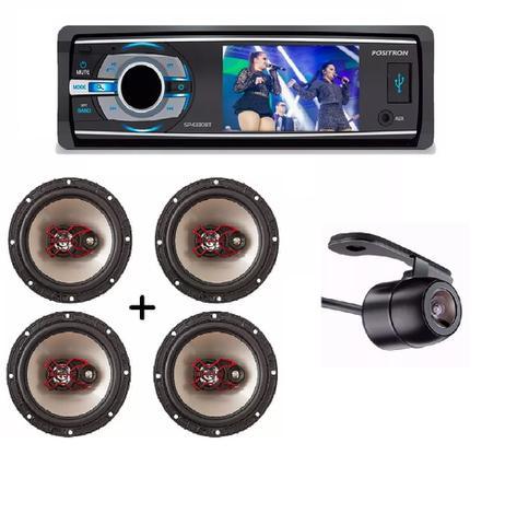 Imagem de Dvd Positron Sp4330 Bt Tela 3 Com Bluetooth E Usb Camera E Kit 4 Auto Falante Bravox 6 50w