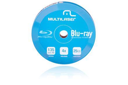 Imagem de DVD-R Blu-ray 4X c/ 10 Shirink Print Branco Multilaser - DV0