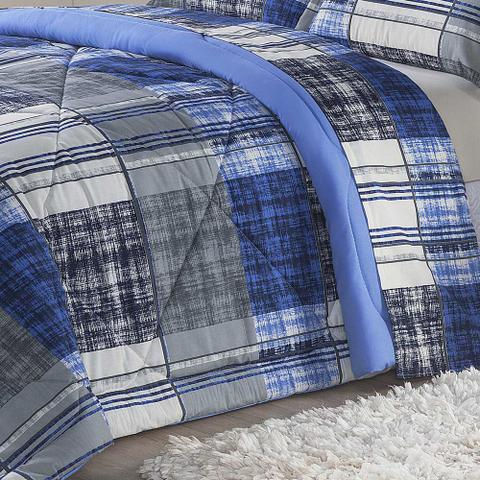 Imagem de Edredom Monschau Azul Solteiro Dupla Face 120 Fios