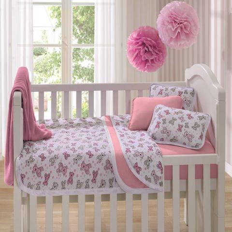 Imagem de Edredom Para Berço Estampado Ursinho Rosa Vivaldi Baby 01 Peças - Rosa