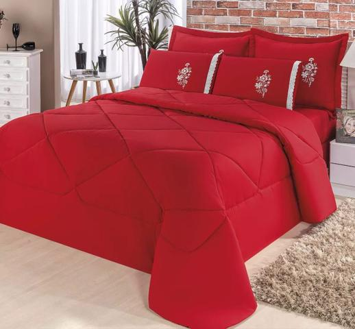 Imagem de Edredon Confort Casal Queen + Jogo De Lençol 06 Peças Bordado Casa Completa Vermelho
