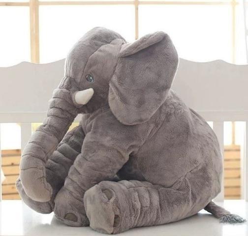 Imagem de Elefante de Pelúcia 60cm Soft Antialérgico Almofada Travesseiro Grande Cinza