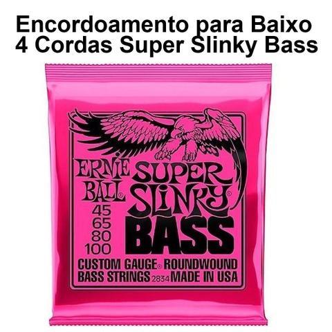 Imagem de Encordoamento Ernie Ball Baixo 4 Cordas 045-100 Super Slinky Niquel P02834