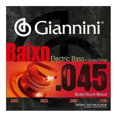 Imagem de Encordoamento Para Baixo 4 Cordas 045 Giannini Nickel Wound