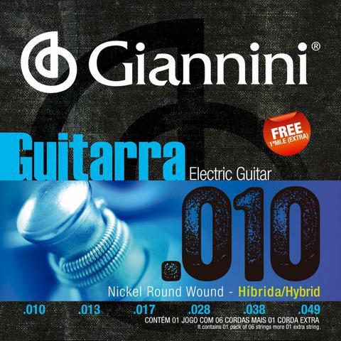 Imagem de Encordoamento Para Guitarra 010 049 Híbrido Giannini GEEGSTH10 - Kit Com 5 Unidades