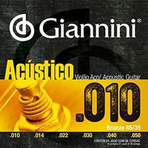 Imagem de Encordoamento Para Violão Acústico Aço Giannini Geswam 010