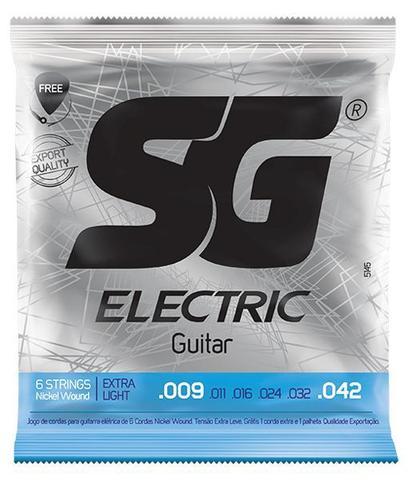 Imagem de Encordoamento SG Guitarra 009 - Palheta + Corda Mi Extra