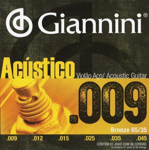 Imagem de Encordoamento Violão Aço Giannini 009 Bronze GESWAL
