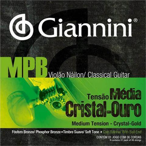 Imagem de Encordoamento Violão Náilon Tensão Média Cristal Ouro Giannini GENWG