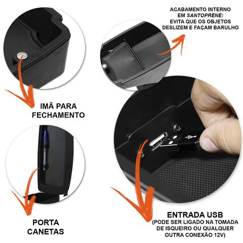 Imagem de Encosto Descanso Braço Apoio Polo Hatch Sedan 2002 a 2015 Com USB Couro Ecológico Encaixe no Cinto