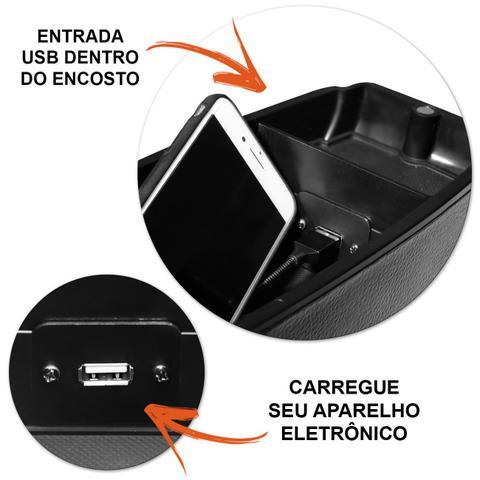 Imagem de Encosto Descanso de Braço Apoio Ecosport 2013 a 2017 Com USB Couro Ecológico Encaixe Porta Copos