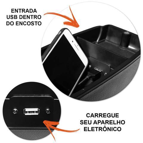 Imagem de Encosto Descanso de Braço Apoio Etios 2013 a 2020 Com USB Couro Ecológico Encaixe Porta Copos