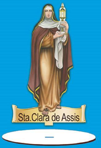 Imagem de Enfeite Arte em Madeira MDF e Tecido colado com Base Sta. Clara de Assis AMTB-006 - Litoarte