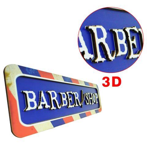 Imagem de Enfeite de Parede Quadro Barber Shop 3D Barbearia 61x15 Mdf 6mm Madeira