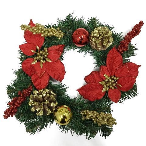 Imagem de Enfeite decorativo guirlanda c/ flor e pinha 35cm - niazitex