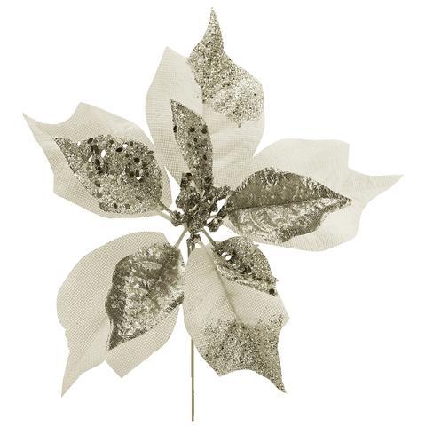 Imagem de Enfeite natal bico de papagaio com glitter prata 25 cm - yangzi