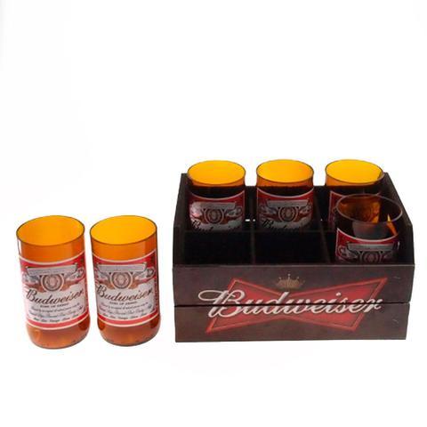 Imagem de Engradado Com 6 Copos De Vidro Budweiser Preto