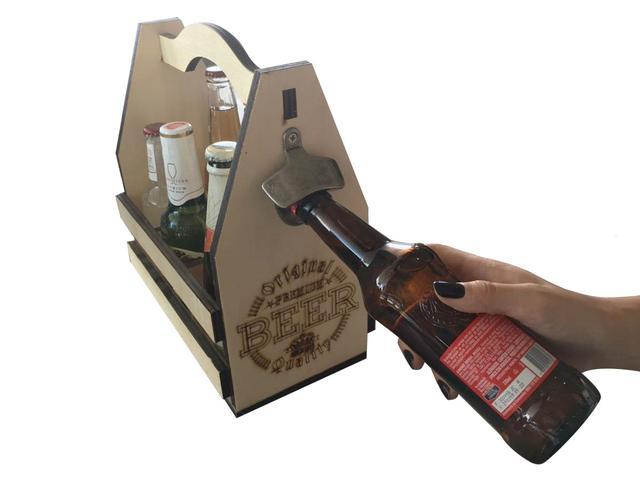 Imagem de Engradado Para Cervejas Com Abridor 6 Garrafas Beer