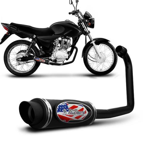 Imagem de Escapamento Moto Esportivo CG Titan 150 ES KS 2009 a 2012 Shutt Powerbomb Com Protetor Preto