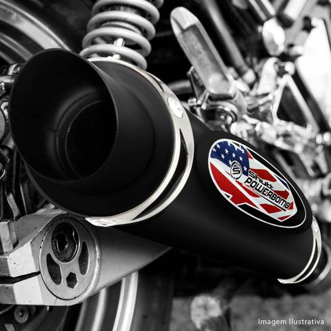 Imagem de Escapamento Moto Esportivo CG Titan 150 ESD 2005 a 2008 Shutt Powerbomb Com Bacalhau Protetor Preto