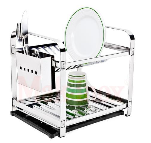 Imagem de Escorredor 12 Pratos Em Aço Inox Com Porta Talheres Inox Com Bandeja Coletora Água