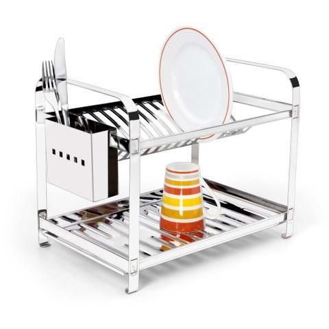 Imagem de Escorredor 16 Pratos Em Aço Inox Com Porta Talheres Inox Mak Inox.