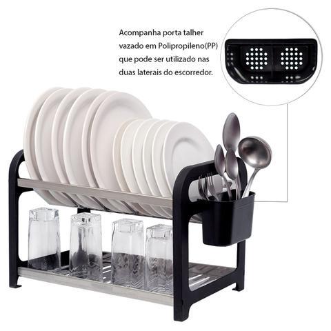 Imagem de Escorredor 16 pratos Inox Preto com Porta Talheres
