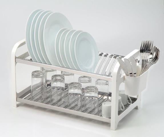 Imagem de Escorredor 20 pratos Inox Branco com Porta Talheres