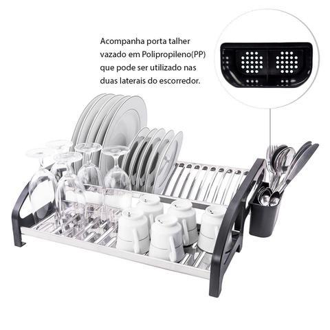 Imagem de Escorredor 20 pratos Inox Cama Preto