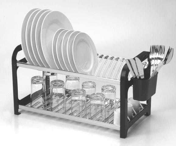Imagem de Escorredor 20 pratos Inox Preto com Porta Talheres