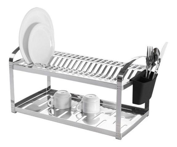 Imagem de Escorredor 20 pratos suprema inox c/ suporte p/ talheres