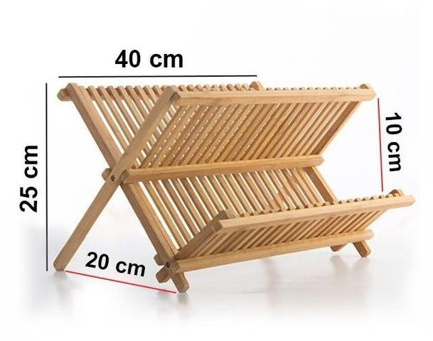 Imagem de Escorredor de Bambu Dobrável Suporte para Pratos e Copos