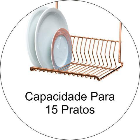 Imagem de Escorredor de Louça 15 Pratos + Suporte Multiuso Duplo