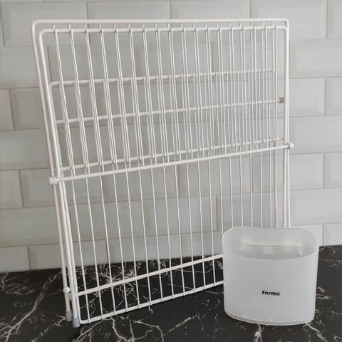 Imagem de Escorredor de Louças Articulado Dobrável Dry Branco para 19 Pratos com Suporte para Talheres