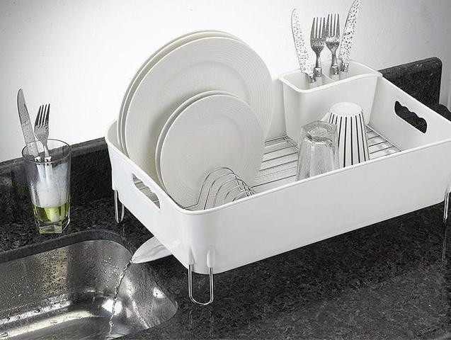 Imagem de Escorredor de Louças com Porta talheres Deluxe 12 Pratos Branco Arthi