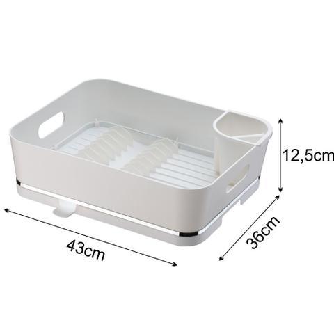 Imagem de Escorredor De Louças Para 13 Pratos Em Plástico PS Eleganza - Branco