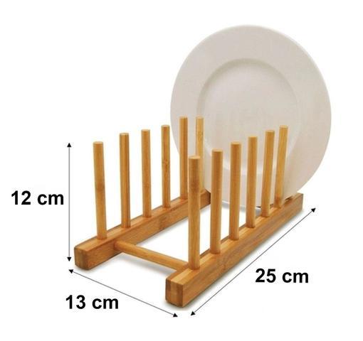 Imagem de Escorredor De Pratos Bambu Suporte Copos Multiuso Cozinha