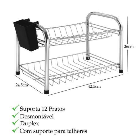 Imagem de Escorredor de pratos desmontável duplo com suporte de talheres