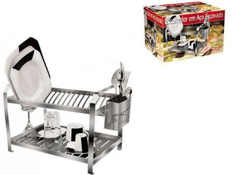 Imagem de Escorredor de pratos e copos escovado Inox  20 pratos com Porta Talheres - Dinox (Cód. 4742)