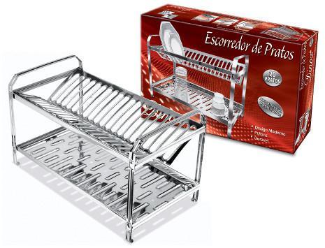 Imagem de Escorredor de pratos e copos luxo Inox para 20 pratos - Dinox (Cód. 5443)