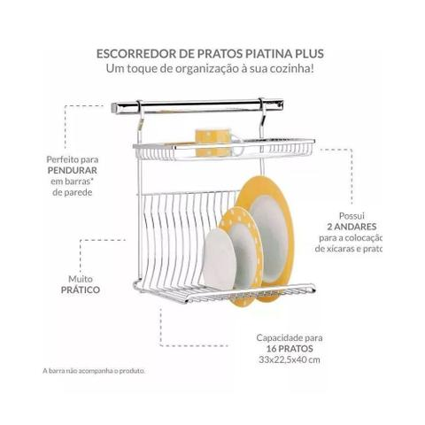Imagem de Escorredor de Pratos Piatina Aço Cromado 16 Pratos Brinox